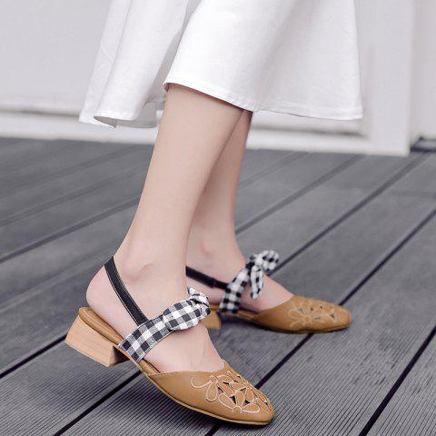 Hollow Out Plaid Pattern Sandals - Brown - 39