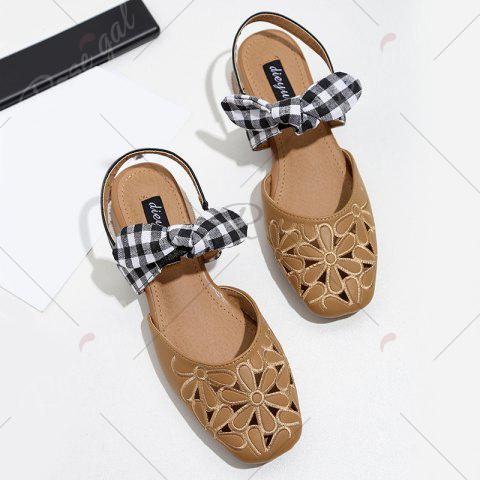 Affordable Hollow Out Plaid Pattern Sandals - 39 BROWN Mobile