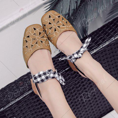 Chic Hollow Out Plaid Pattern Sandals - 39 BROWN Mobile