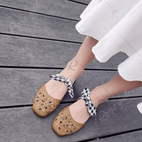 Latest Hollow Out Plaid Pattern Sandals - 39 BROWN Mobile