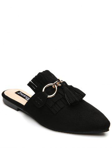 Outfits Tassels Pointed Toe Slippers - 37 BLACK Mobile