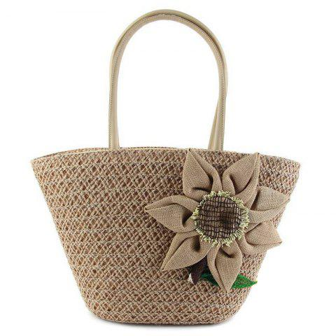 Woven Straw Sunflower Beach Bag - Brown