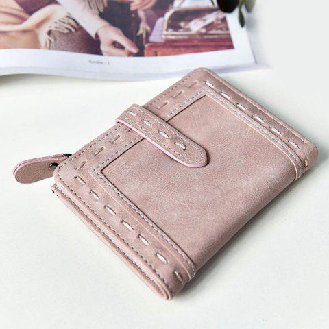Cheap Stitching Bifold Small Wallet LIGHT PINK