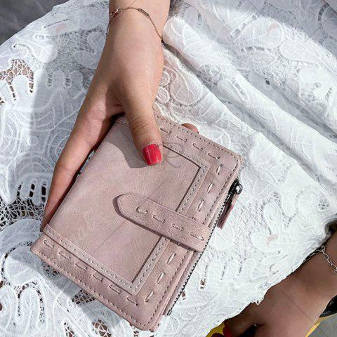 Sale Stitching Bifold Small Wallet - LIGHT PINK  Mobile