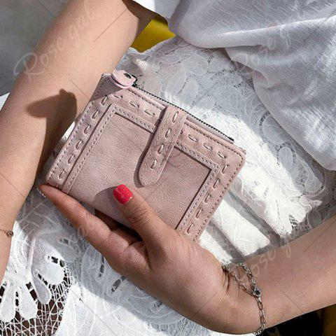 New Stitching Bifold Small Wallet - LIGHT PINK  Mobile