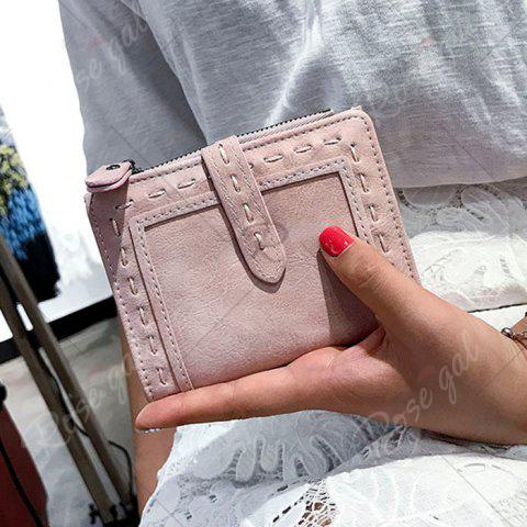 Trendy Stitching Bifold Small Wallet - LIGHT PINK  Mobile