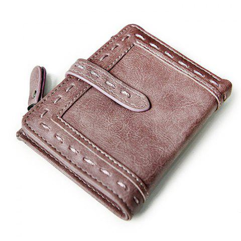 Store Stitching Bifold Small Wallet - DEEP PINK  Mobile