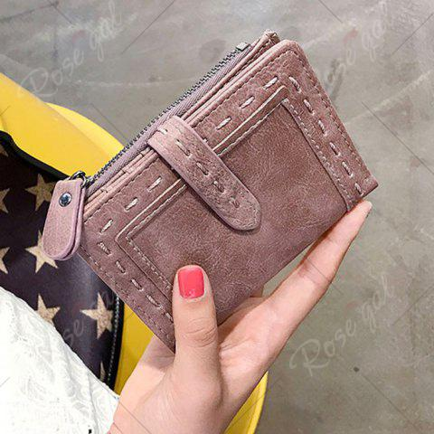 Hot Stitching Bifold Small Wallet - DEEP PINK  Mobile