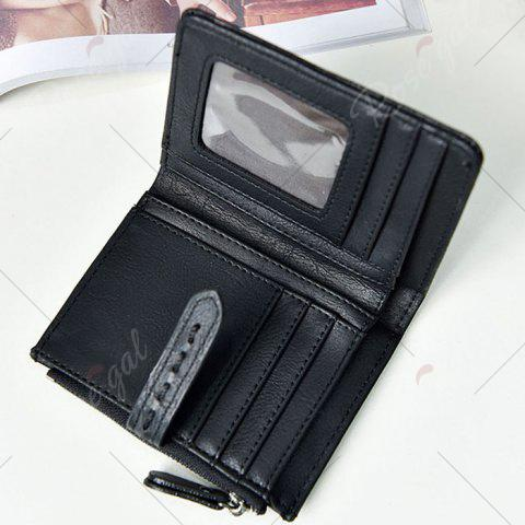 Store Stitching Bifold Small Wallet - BLACK  Mobile