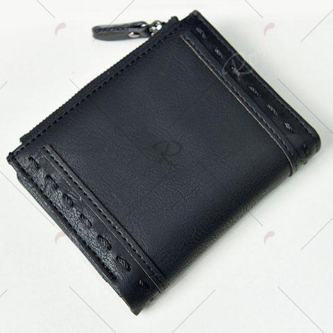 Online Stitching Bifold Small Wallet - BLACK  Mobile