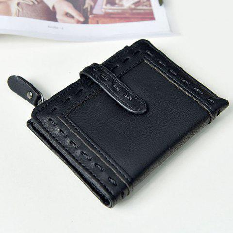 Stitching Bifold Small Wallet - Black
