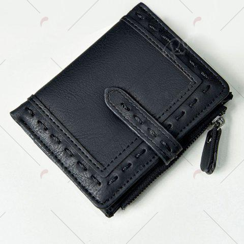Cheap Stitching Bifold Small Wallet - BLACK  Mobile