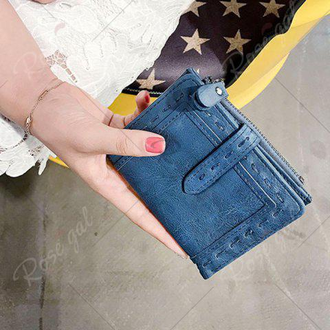 Shops Stitching Bifold Small Wallet - BLUE  Mobile