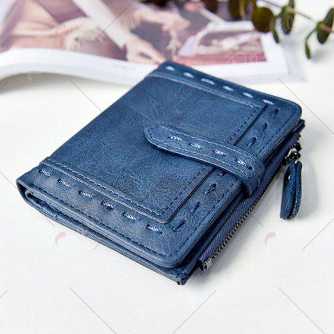 Chic Stitching Bifold Small Wallet - BLUE  Mobile