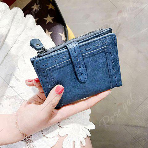 Sale Stitching Bifold Small Wallet - BLUE  Mobile