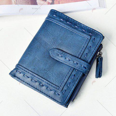Discount Stitching Bifold Small Wallet - BLUE  Mobile