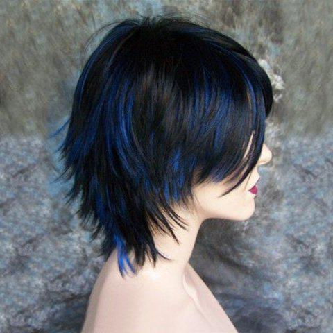 Side Bang Short Highlight Straight Synthetic Wig - Blue And Black