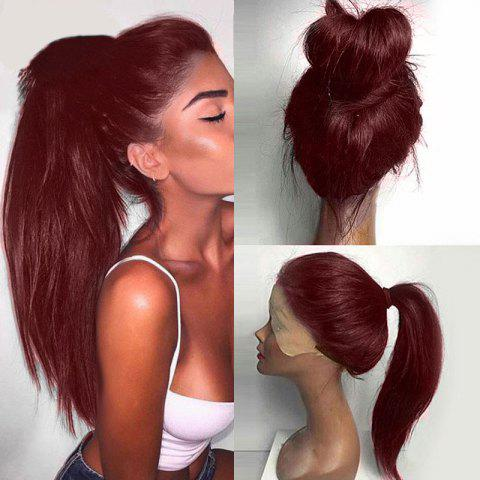 Unique Long Ponytails Straight Lace Front Synthetic Wig - WINE RED  Mobile