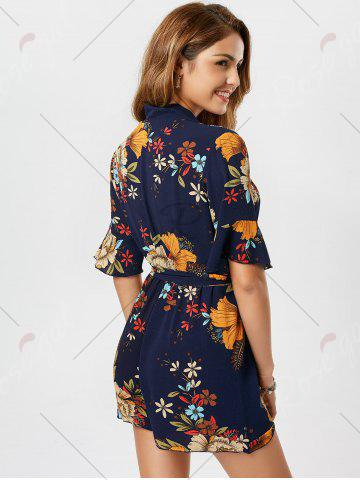 Buy Belted Floral Print Surplice Kimono Romper - XL BLUE Mobile