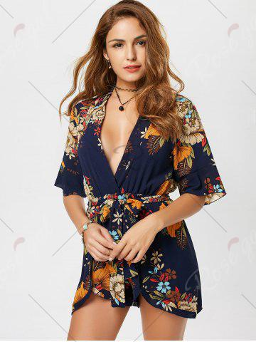 Sale Belted Floral Print Surplice Kimono Romper - XL BLUE Mobile