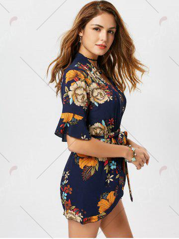Outfits Belted Floral Print Surplice Kimono Romper - M BLUE Mobile