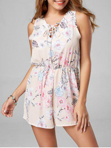 Unique Floral Sleeveless Lace Up Chiffon Romper - L PINK Mobile