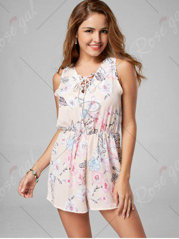 Chic Floral Sleeveless Lace Up Chiffon Romper - L PINK Mobile