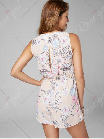 Affordable Floral Sleeveless Lace Up Chiffon Romper - L PINK Mobile