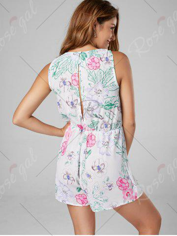 Trendy Floral Sleeveless Lace Up Chiffon Romper - S WHITE Mobile