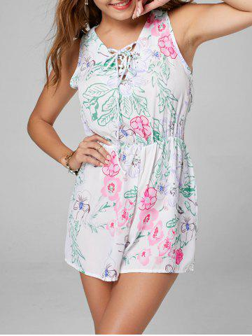 Trendy Floral Sleeveless Lace Up Chiffon Romper - M WHITE Mobile
