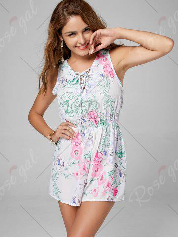 Outfits Floral Sleeveless Lace Up Chiffon Romper - L WHITE Mobile