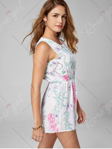 Trendy Floral Sleeveless Lace Up Chiffon Romper - L WHITE Mobile