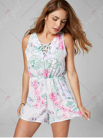 Fancy Floral Sleeveless Lace Up Chiffon Romper - L WHITE Mobile