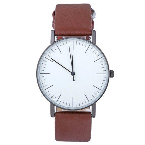 Faux Leather Band Round Minimalist Watch - Brown