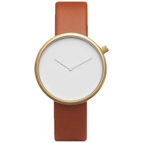 Minimalist Faux Leather Strap Round Analog Watch - Gold Brown