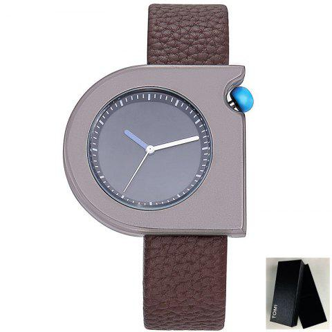 Minimalist Faux Leather Strap Semicircle Watch - Black And Brown