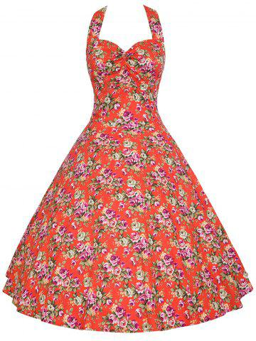 Halter Plus Size Floral A Line Dress - Red - 4xl
