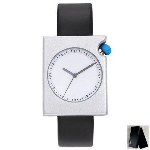 Faux Leather Strap Minimalist Rectangle Watch - Black White - 150*180cm