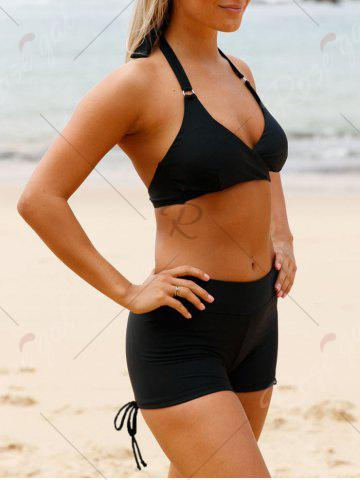 Affordable Halter Wrap Boy Shorts Bikini Set - S BLACK Mobile