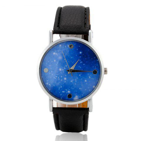Starry Sky Face Faux Leather Strap Quartz Watch - Black
