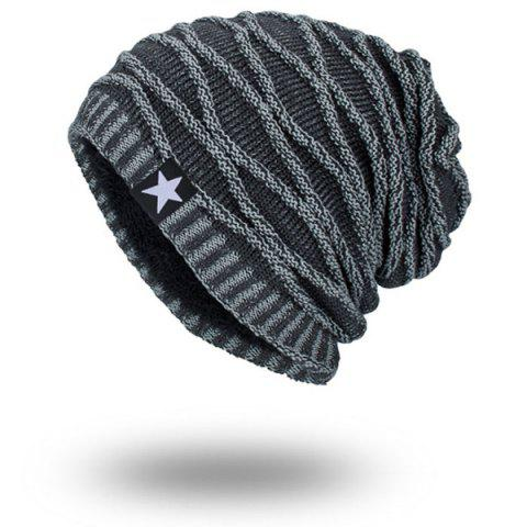 Wave Striped Velvet Lining Knitted Warm Beanie - Gray