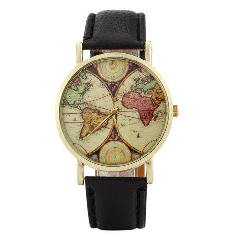 World Map Face Faux Leather Strap Quartz Watch - Black