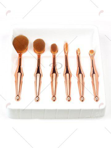 Trendy 6Pcs Toothbrush Shape Makeup Brushes Kit - GOLDEN  Mobile