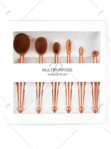 Fancy 6Pcs Toothbrush Shape Makeup Brushes Kit - GOLDEN  Mobile