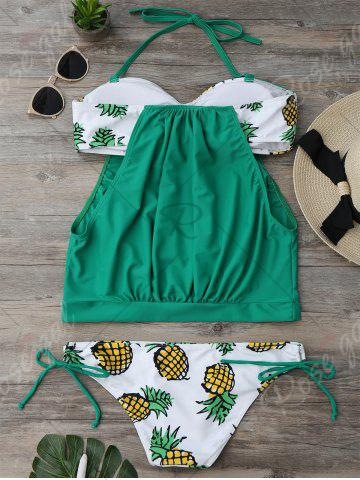 Shop Halter Pineapple Print Blouson Tankini Set - S GREEN Mobile