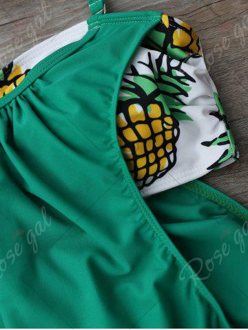 Chic Halter Pineapple Print Blouson Tankini Set - S GREEN Mobile