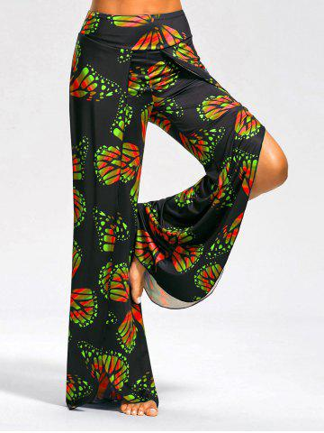 Butterfly Print High Slit Palazzo Pants - Red And Green - S