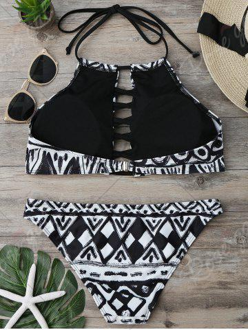 Outfits Halter Criss Cross Cropped Bikini Set - S COLORMIX Mobile