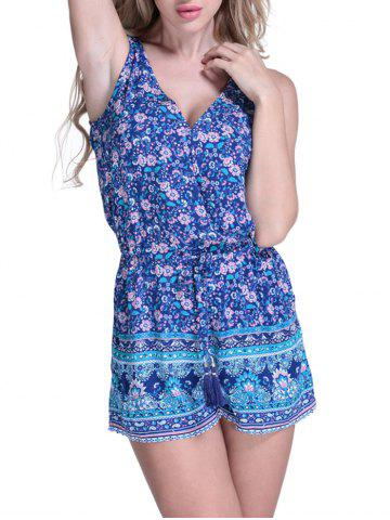 Fancy Floral Cover Up Romper BLUE L