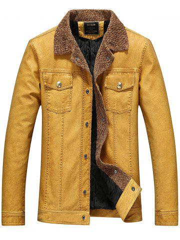 Double Pockets Padded Faux Leather Jacket